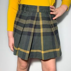Burberry Plaid Skirt Pleated Green Black 4Y
